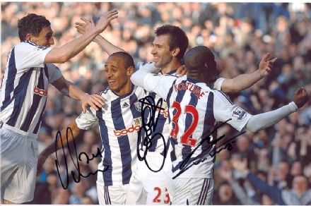Odemwingie, Fortune & McAuley, West Brom, signed 12x8 inch photo.